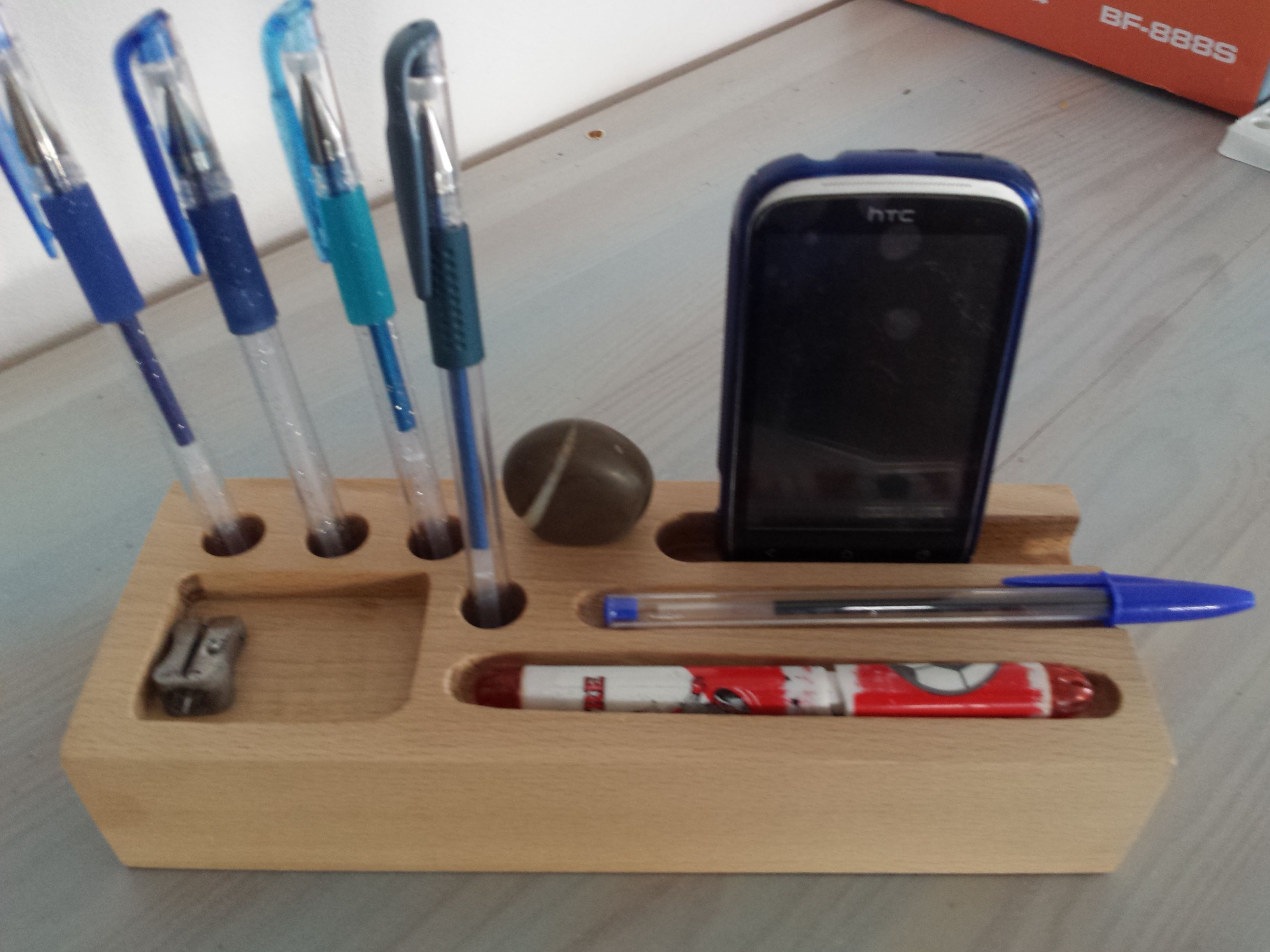 Natural Wood Pen Pencil Holder Desk Organizer -makeup brushes with ...