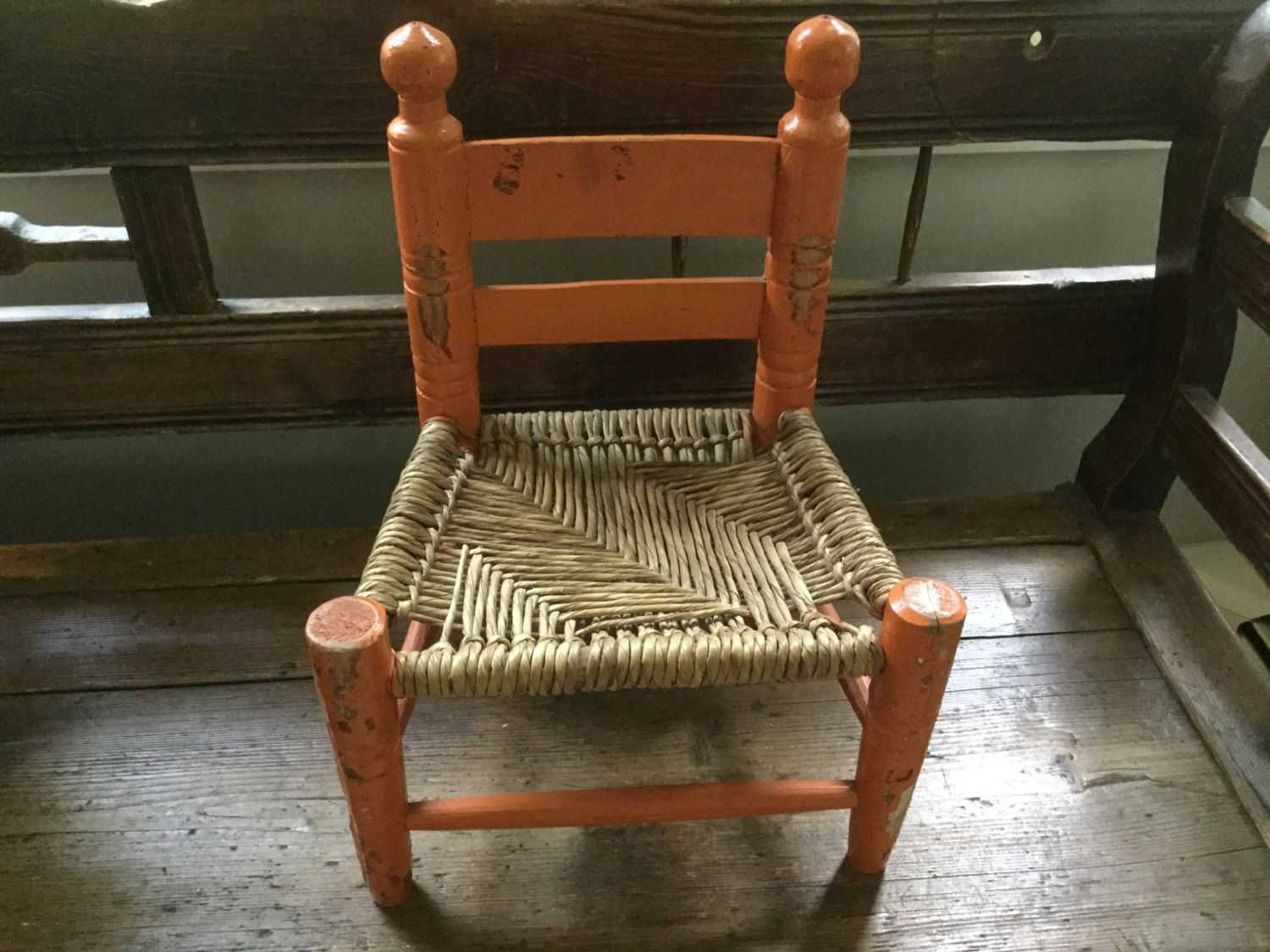 small child chair. Vintage Painted Orange Wood/ Rush Seat Small Doll / Child\u0027s Chair Chippy Cottage Collectible By Child D