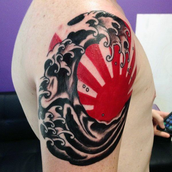 Red And Black Japanese Sun Tattoo For Guys On Upper Arm Sun Tattoo Designs Sun Tattoos Sun Tattoo