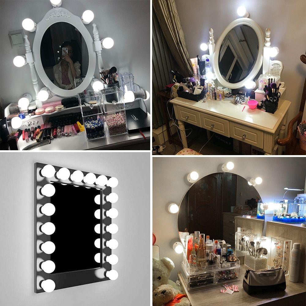 6 10 14pcs Usb Led Vanity Mirror Lights Kit 220v Dimmable Light Bulbs Eu Plug Makeup Vanity Table Dressing Room Lighting Fixture Zerkalo Lajfhaki Remont