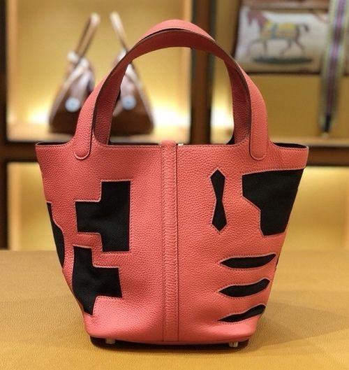 93981f30f82 Hermes Petit H Limited Edition U5 Rose Lipstick/Black Picotin Lock 22 Togo Leather  Bag
