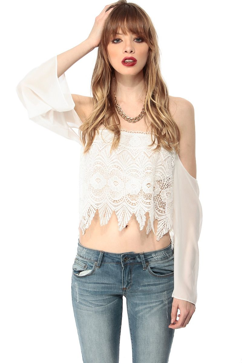 c7f3164ee504dd White Off Shoulder Crochet Crop Top   Cicihot Top Shirt Clothing Online  Store  Dress Shirt