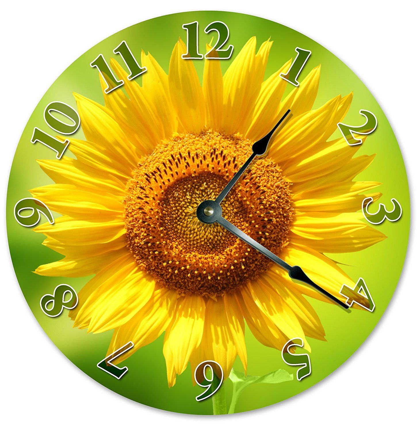YELLOW SUNFLOWER CLOCK Unique Clock Large 10.5\' Wall Clock ...