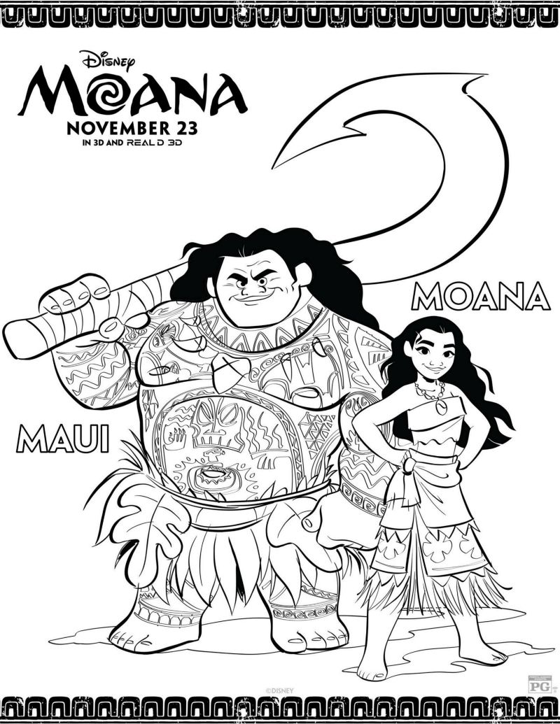 disney maui and moana coloring page fun things for children