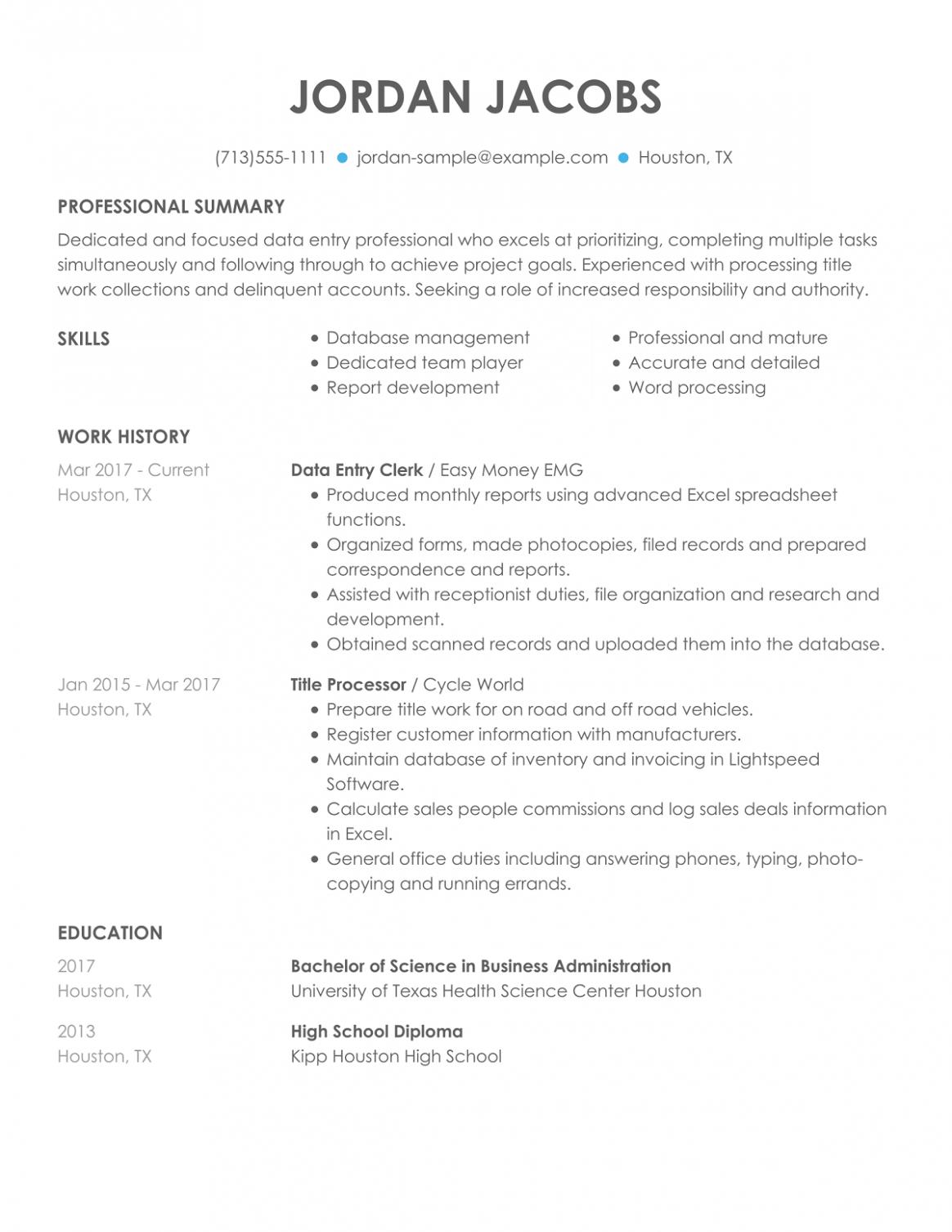 11 Resume Format For Pc Operator Job
