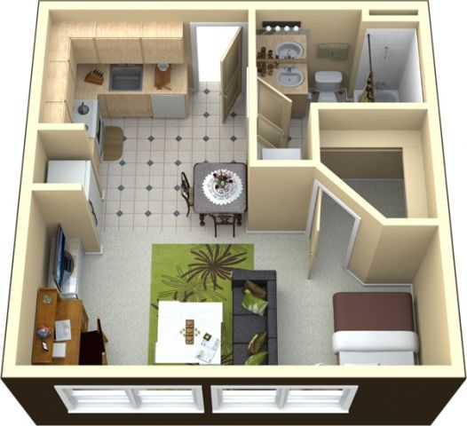 Stylish 400 Square Foot Apartment The Avenue South 2243 U Highway 52 West 154 180 Studio 1 Bath Small House Plans Apartment Floor Plan Floor Plans