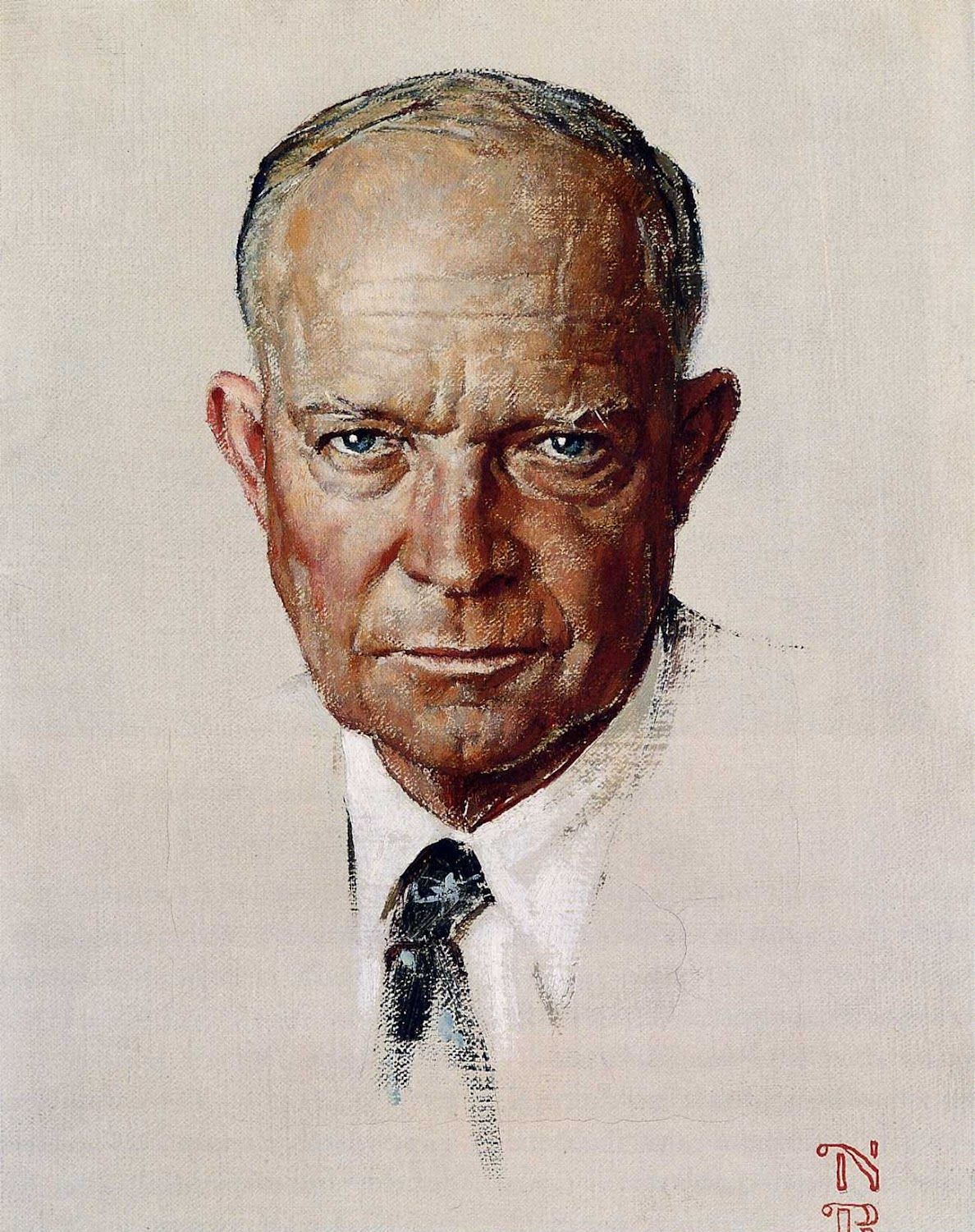 Norman Rockwell American Oil Painting The Day I Painted Ike