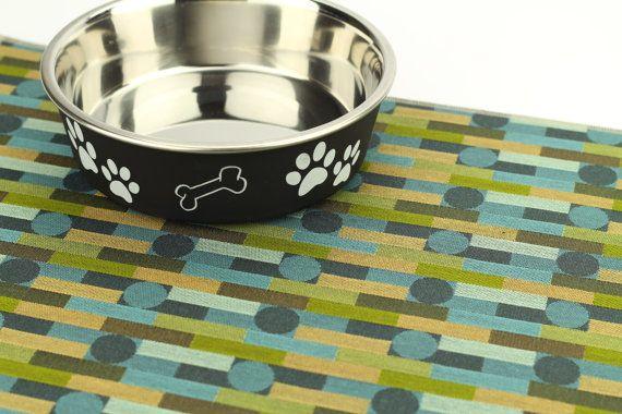 Pet Food Mat, Choose Your Size, Waterproof Pet Placemat, Tough Pet Mat, Odor Resistant, Kitty Litter Mat, No Mess Mat, Blue Green Modern