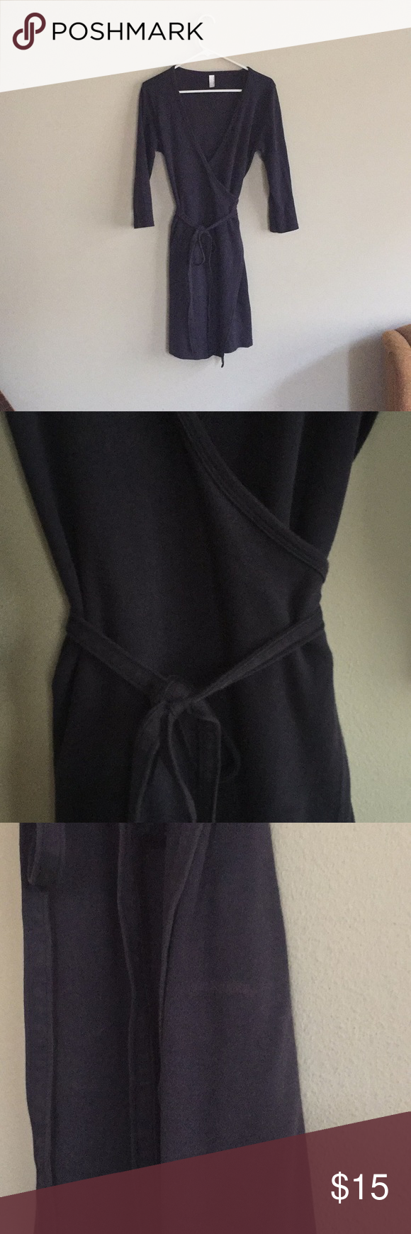 "979b069f55c American Apparel blue wrap dress Dark blue ""Classic Girl"" American Apparel  wrap dress."