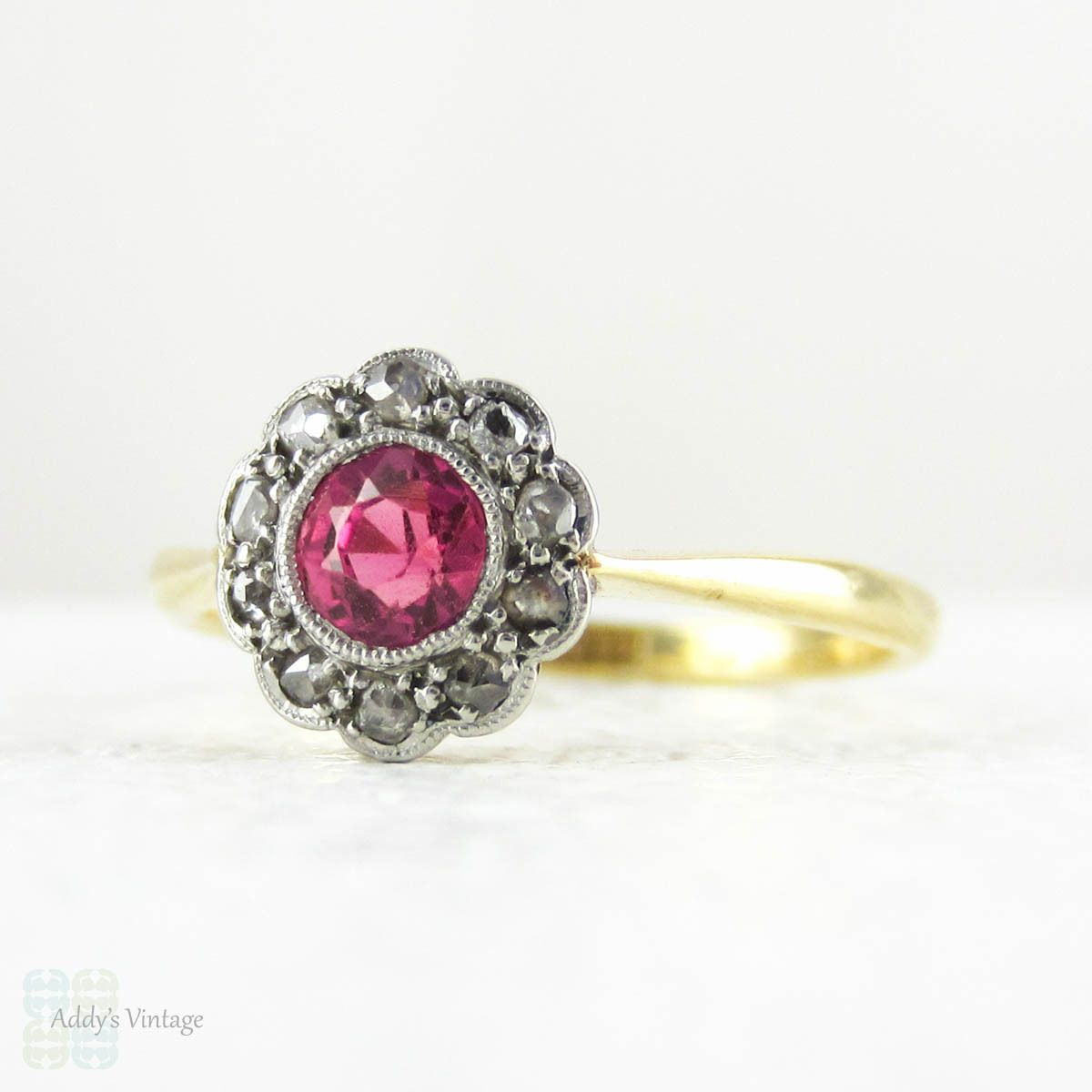 Httpaddysvintageart deco ruby engagement ring daisy art deco ruby engagement ring daisy flower shaped cluster ring with rose cut diamond halo pink red ruby sapphire in 18 carat platinum izmirmasajfo Image collections