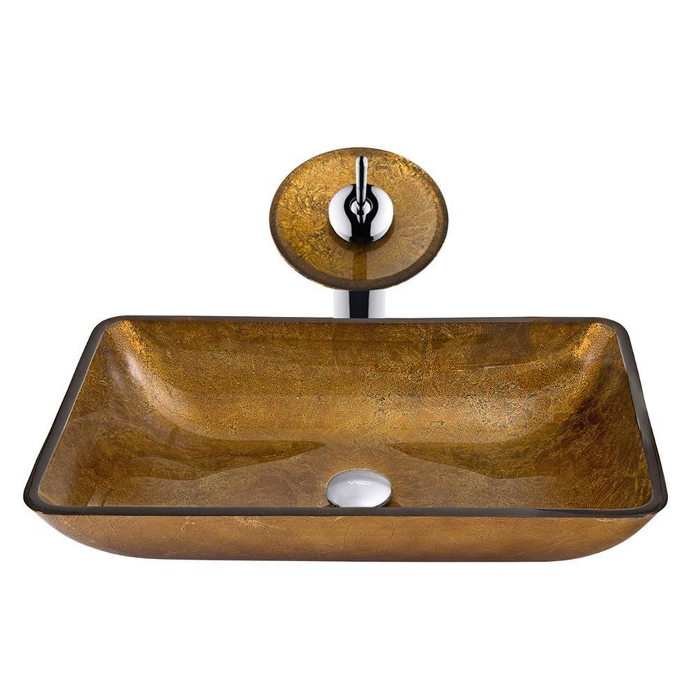 Vigo Rectangular Glass Vessel Bathroom Sink In Copper With