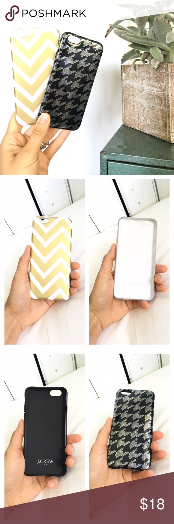 Listing! 2 J. Crew iPhone 6/6s cases Two J. Crew iPhone 6/6s phone cases. Both in beautiful condition. Very lightly used. Black houndstooth and gold chevron. They both have a few *very* light scratches on the back, but aren't noticeable except at a certain angle. I tried to show them in the last picture. These are perfect for fall/winter season! J. Crew Accessories Phone Cases