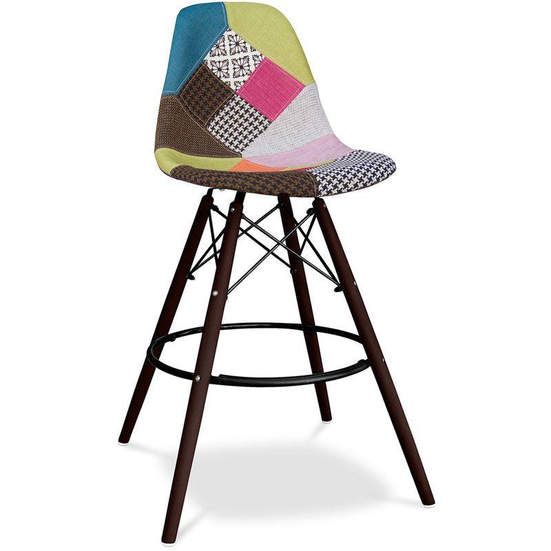 Tabouret De Bar Deswick Pietement Fonce Patchwork Simona Multicolore A92031702 En 2020 Tabouret Tabouret De Bar Bar