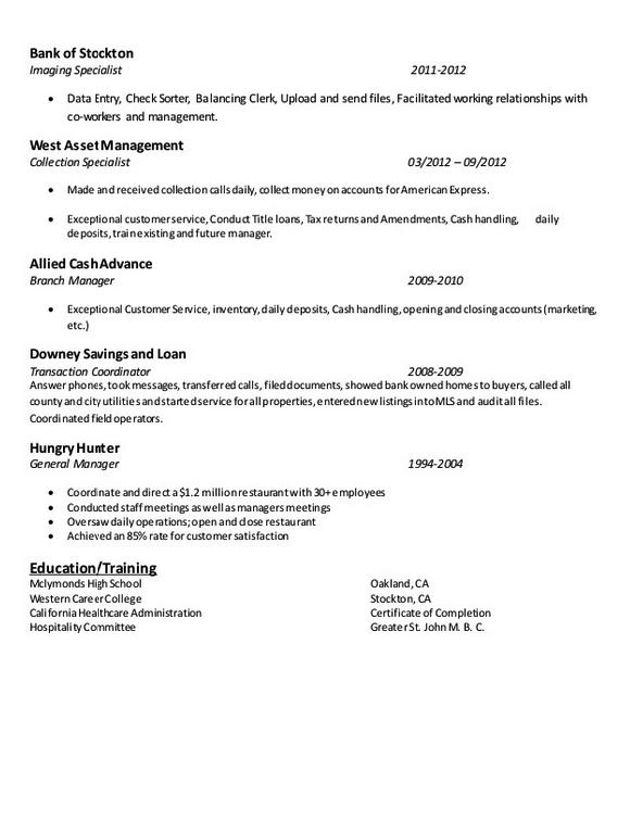 document imaging specialist resume example