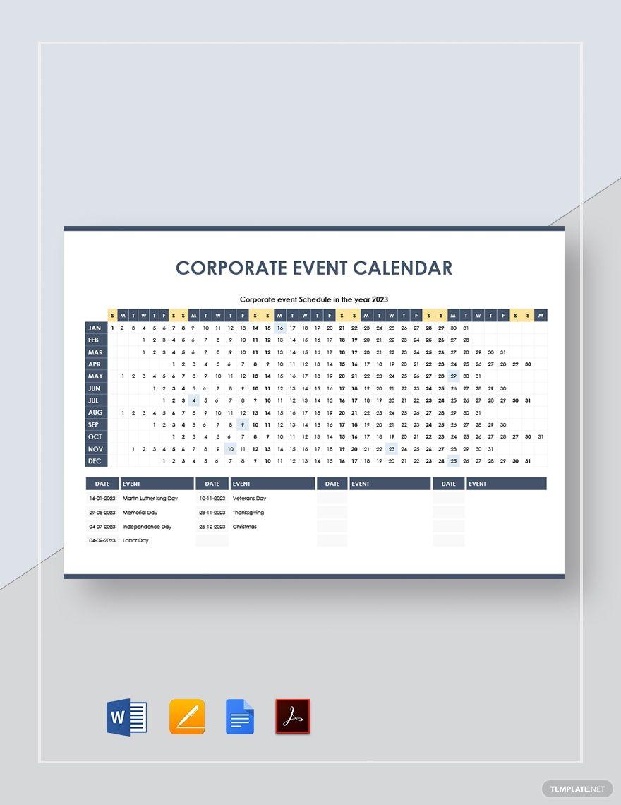 Corporate Event Calendar Template in 2020 Event calendar