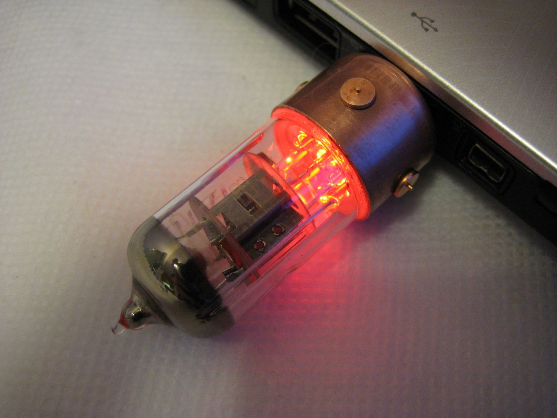 Red Pentode 16gb Usb Flash Drive Steampunk Vacuum Tube Usb