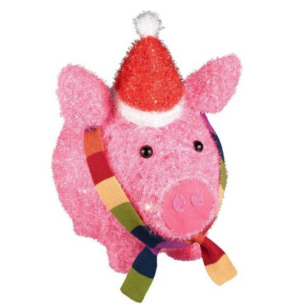 lighted tinsel pig with hat and scarf christmas yard decor click image to review more details this is an affiliate link homedecoration