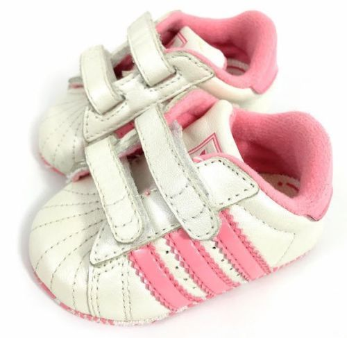 654176fdbb71 Adidas-Superstar-Baby-Girl-Crib-Shoes-White-Pink-Stripes-Leather-US-Sz-1K- Infant