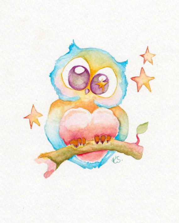 Cute Owl Original Watercolor Painting Nursery Art
