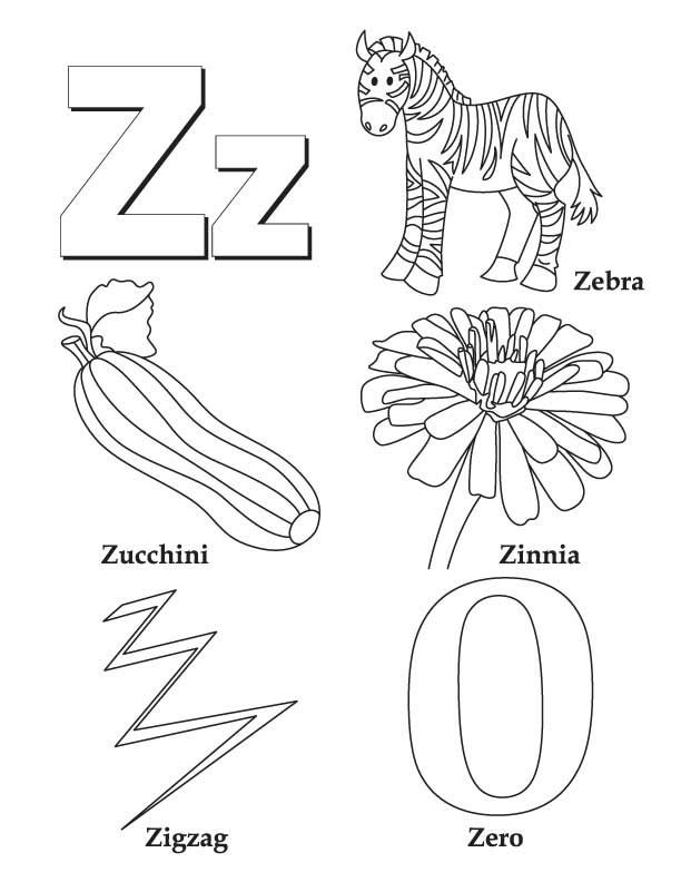 My A To Z Coloring Book Letter Z Coloring Page Preschool