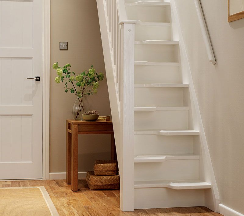 Interior Divine Space Saving Wooden White Staircase Design Lovely