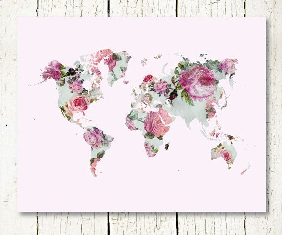Floral world map print download purple pink mint rose baby girl floral world map print download purple pink mint rose baby girl nursery wall art decor poster printable digital instant download jpg pdf gumiabroncs Images