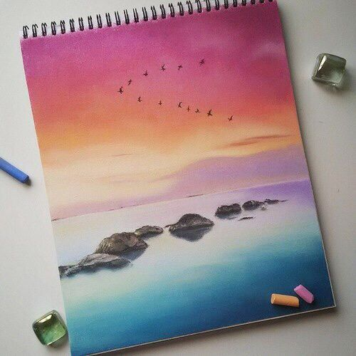 Arte Dibujos Con Gises Pastel En 2019