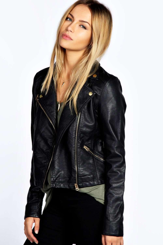 Leather jacket boohoo - Elin Faux Leather Biker Jacket Alternative Image