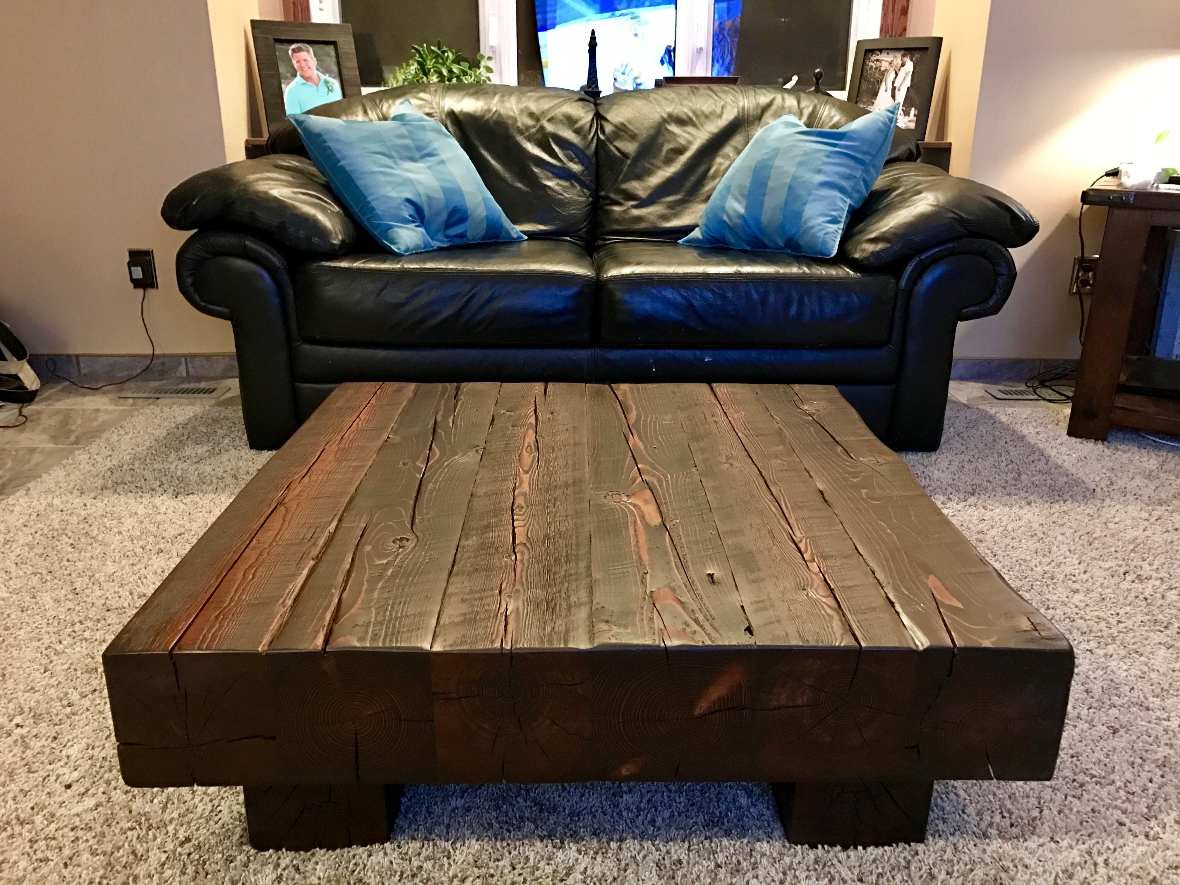 Timber coffee table made from 6x6
