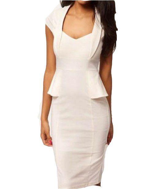 Amazon.com: WIIPU Ladies Chic Elegant Vintage Sliming Turn-Down Collar V-Neck Pencil Dress(J44): Clothing