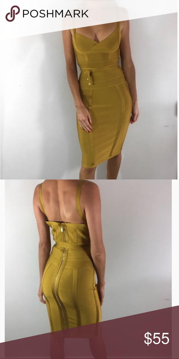 """7226ddd4f6 Mustard Bandage """"Belice"""" Midi Dress BRAND NEW. Purchased from the Azelle  collection-"""