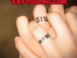 wedding ring tattoos, wedding date tattoos and wedding band tattoo. #tattoo #tattoos #ink