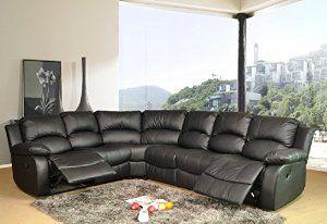 Bonded Leather Recliner Corner Sofa