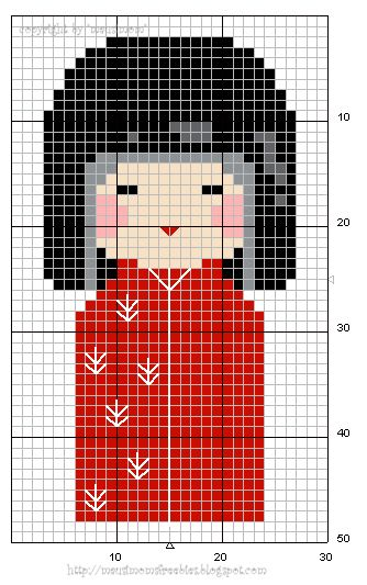 Cross-stitch a Kokeshi doll