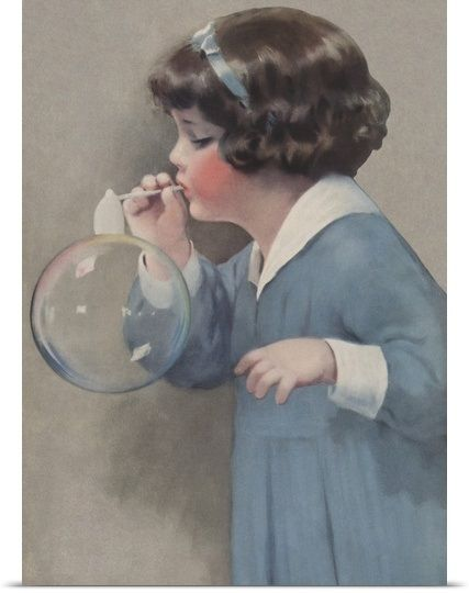 Bessie Pease Gutmann/'s Young Girl Blowing Bubbles Counted Cross Stitch Pattern