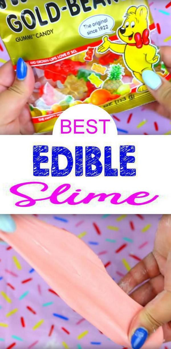 DIY 2 Ingredient Slime Recipe #edibleslime Surprise! Time to make this amazing DIY edible slime! This is the BEST edible Gummy Bear slime. This is an easy homemade edible slime recipe. Fun slime recipe you can make for yourself or give as a gift – slime lovers will love this Gummy Bear slime as a gift. Learn how to make edible slime that will be loved by kids, teens and tweens. Birthday party activity / party favors. This is also the perfect edible slime activity and edible Slime recipe. #edibleslime