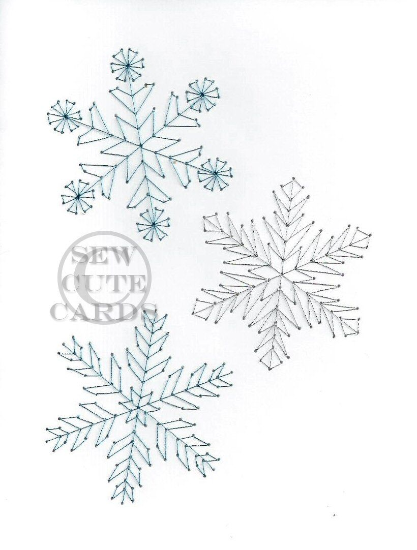 Snowflakes Card from Sew Cute Cards | Fadengrafik, Schneekristalle ...