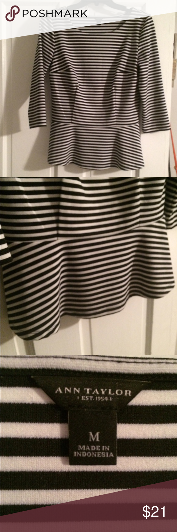 Ann Taylor Stripped Peplum Top Gorgeous peplum top from Ann Taylor. Style is flattering for all body types! Great condition!   Size medium Ann Taylor Tops