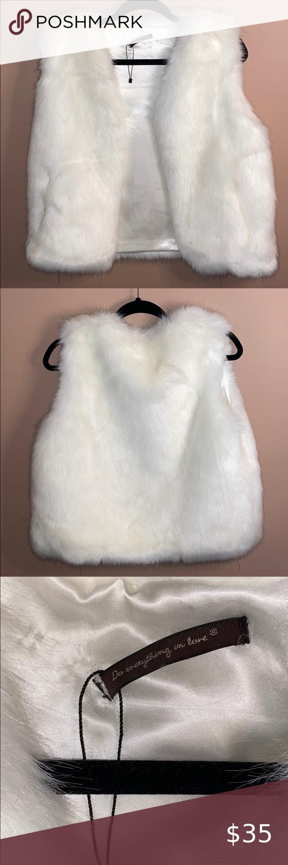 Pure White Faux Fur Vest Cyberpunk Fashion White Faux Fur Vest White Faux Fur