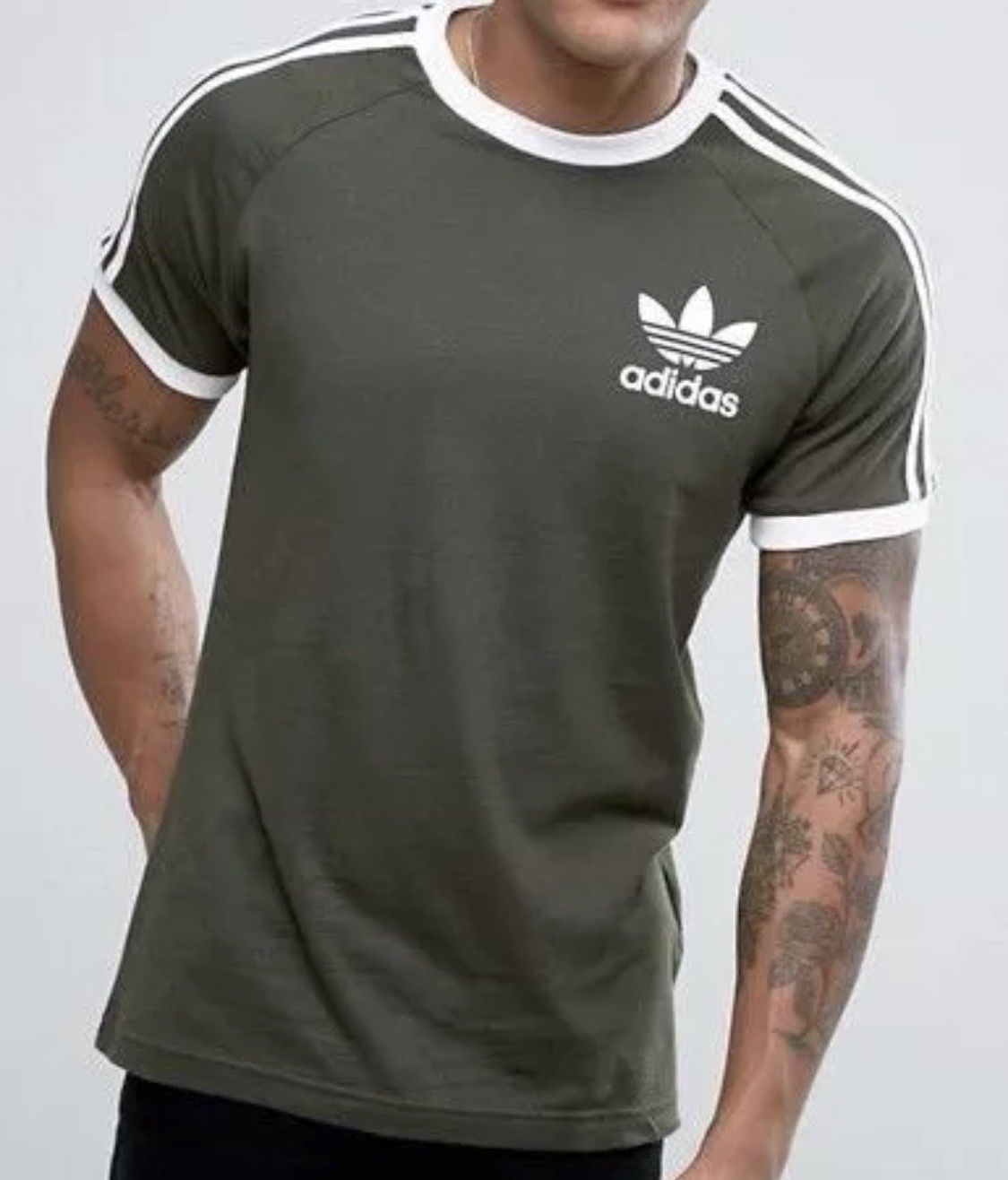 1404a41583 Original Adidas Mens Trefoil California Crew Neck Retro Tee Olive S ...