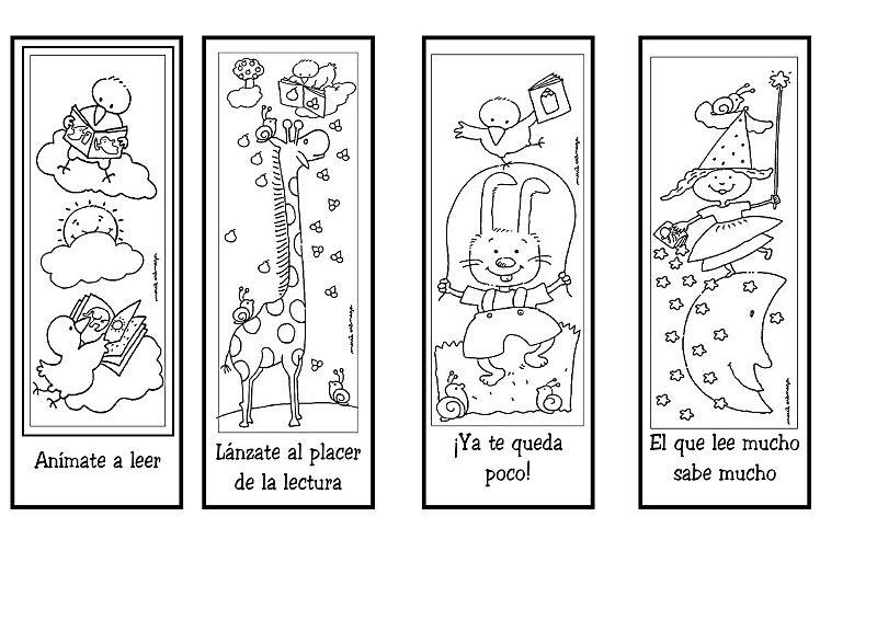 Marcapáginas de animales para colorear | Manualidades para niños ...