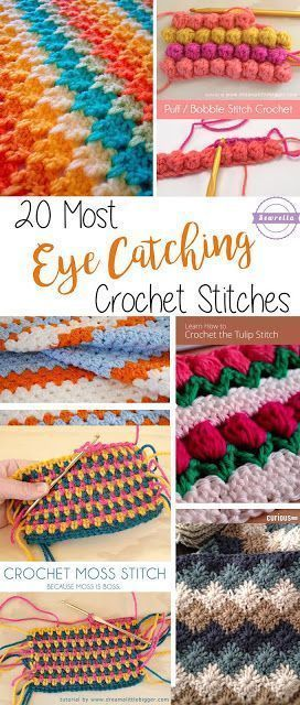 20 Most Eye-Catching Crochet Stitches   Häkeln, Mütze häkeln und ...