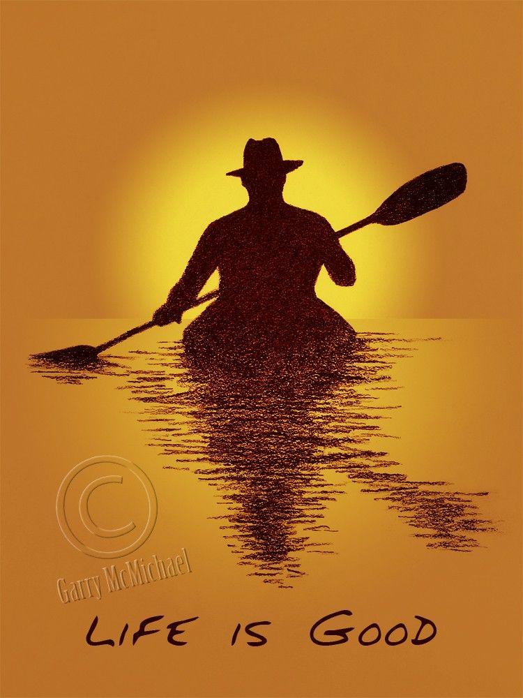 Kayaker Life is Good 10X8 print of charcoal drawing. $20.00, via Etsy.