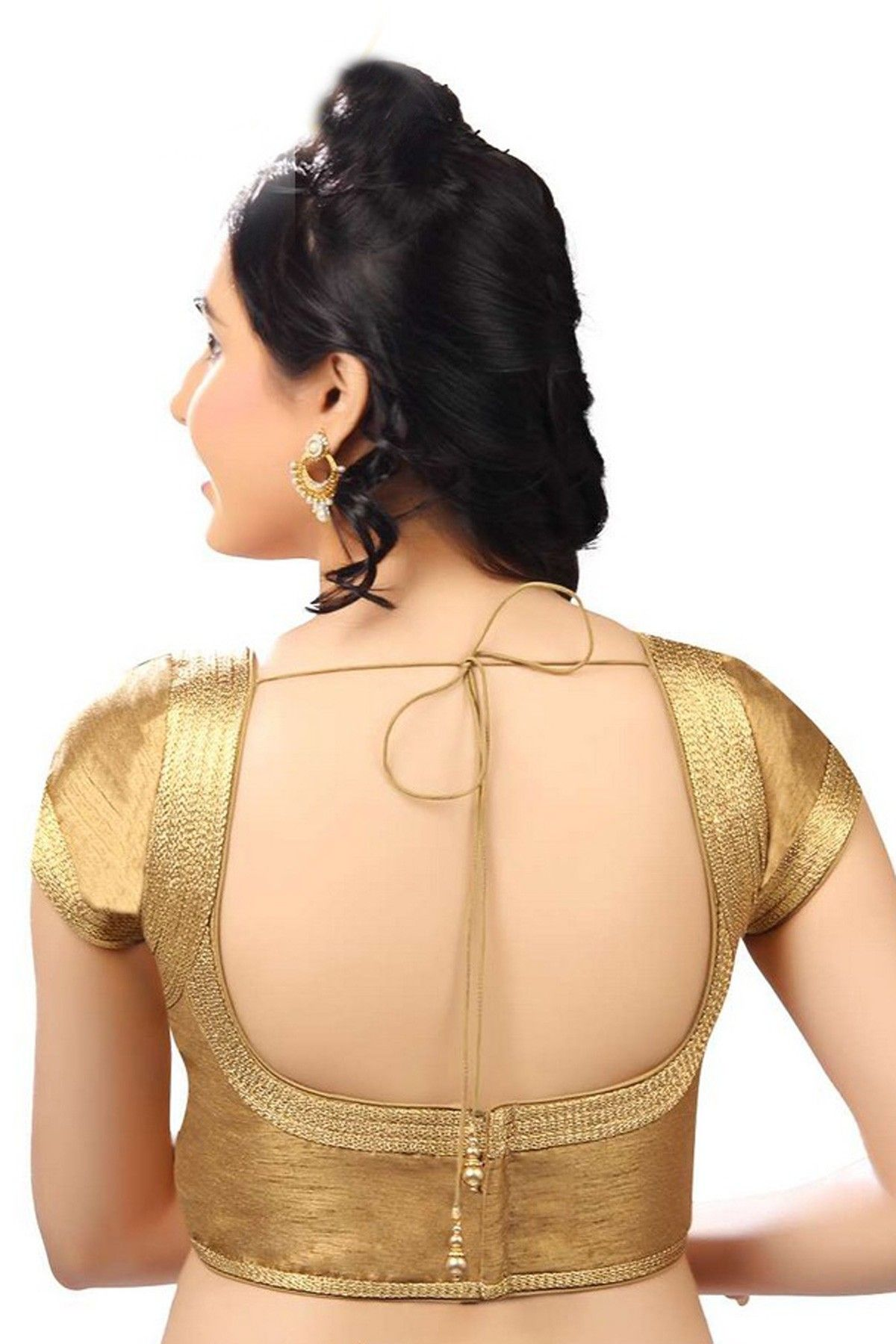 Beige golden brocade blouse blouse designs blouse designs for sarees - Dull Gold Casual Wear Raw Silk Blouse With Back Deep U Neck Blouse Patternsblouse Neck Designssari