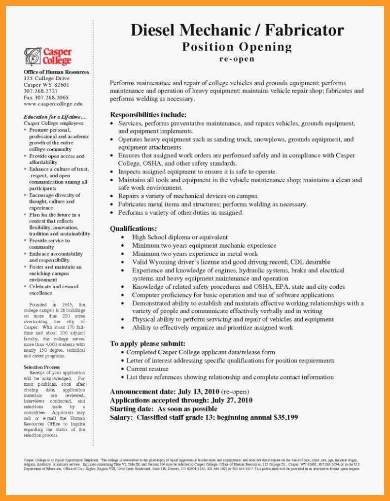 Diesel Mechanic Resume Examples Best Of 10 11 Sel Mechanic Resume Skills In 2020 Good Resume Examples Resume Examples Resume Skills