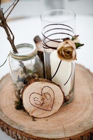 CENTERPIECE- I like the tree stump engraving and mason jars