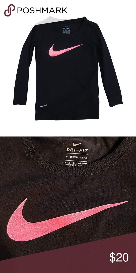 87b8109e01 Girls Nike Dri- Fit Long Sleeve Nike Dri-fit. Pink sparkle Nike logo ...