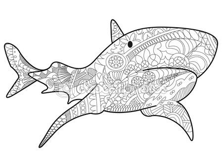 Vector de tiburones para colorear para adultos — Vector de stock | C ...