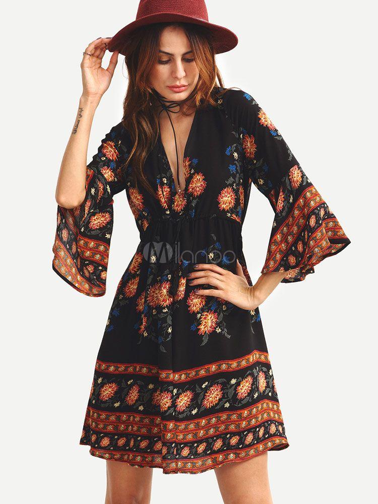 152033c046 Boho Dress Black V Neck 3/4 Length Bell Sleeve Printed A Line Flare Dress