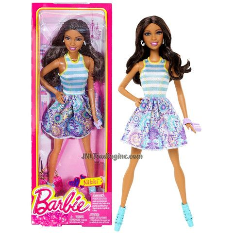 BARBIE DOLL FLORAL DRESS PURSE AND SHOES MATTEL 2014 AUTHENTIC